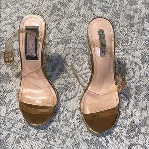 Rose gold transparent block heels